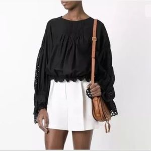 Chloe Black Pineapple Embroidery Scallop Top